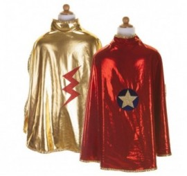 CAPE REVERSIBLE DE SUPER HEROS OR/ROUGE