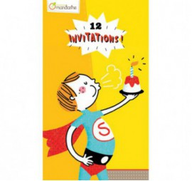CARTES SUPER HEROS INVITATION,